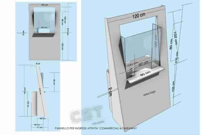barriera policarbonato e legno per take away - CST Scenografie