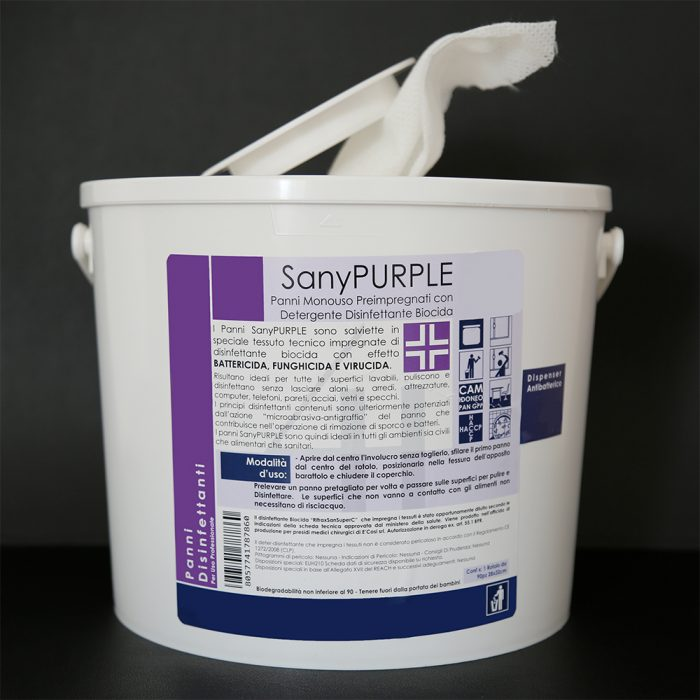 SanyPurple salviette disinfettanti anticovid e antivirus per aziende
